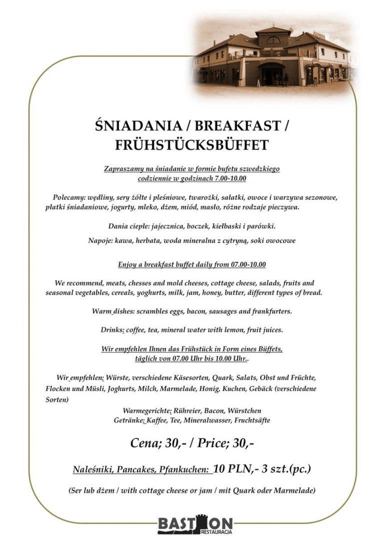śniadania restauracja bastion