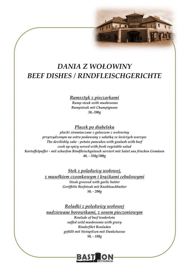dania z wołowiny menu