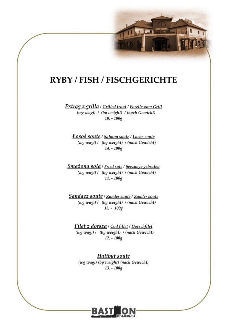 menu ryby